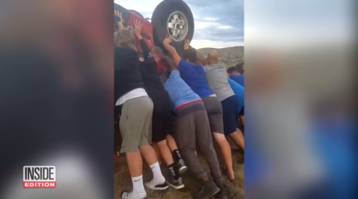 Teens rush to the rescue of older couple trapped under their car