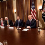 Gov. Ricketts, along with representatives from other Midwestern states, discussing ag related issues with President Trump earlier this year. At the meeting President Trump announced his support for year-round E-15. (Courtesy of Office of Governor Pete Ricketts)