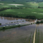 An aerial view of the flooding due to heavy rain on Highway 275 outside of West Point. (Courtesy of Office of Governor Pete Ricketts)