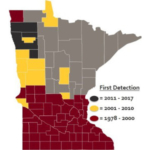 Figure 1. Soybean cyst nematode identification and spread in Minnesota. (Courtesy of University of Minnesota Extension)
