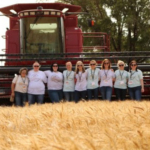 Kansas wheat farmers shared their story with consumers this June when nine food bloggers came to Kansas during wheat harvest. (Courtesy of Kansas Wheat)