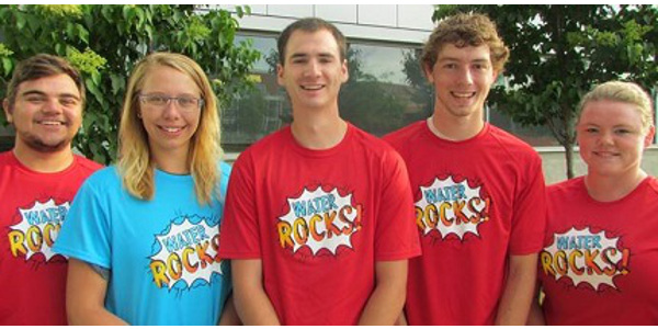 Five Iowa State University undergraduates are spending the summer traveling across Iowa talking about water quality and conservation issues as part of the Water Resources Internship program. (Courtesy of ISU Extension and Outreach)