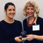 Andrea Muscadin, Vice President of Partnerships at Partnership for a Healthier America (right), and Erin Aagesen, FoodWIse Communications Specialist (left). (Courtesy of UW-Extension)