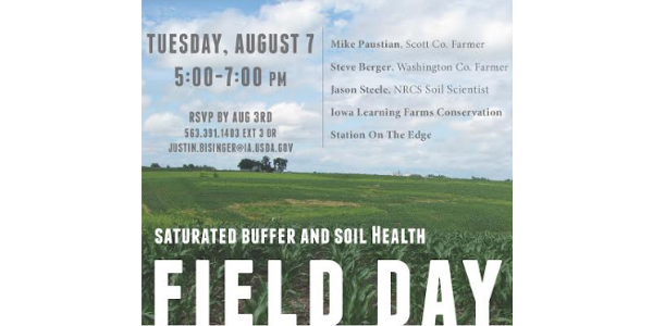 Saturated buffer and soil health field day Aug. 7