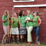 """""""Over twenty women-owned farms will be opening their barn doors and hosting on-farm workshops, culinary events and tours during the Soil Sisters weekend coming up August 3 – 5 in the Green County area. Pictured: Jen Riemer, Riemer Family Farm (Brodhead); Lisa Kivirist, Inn Serendipity Farm and B&B (Browntown); Cara Carper, Executive Director of the Green County Economic Development Corporation/GCDC (Monroe); Peg Sheaffer, Sandhill Family Farm (Brodhead); Kriss Marion, Circle M Farm (Blanchardville). (Courtesy of SOIL SISTERS)"""
