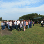 Participants from the 2017 tour view the Agronomy Seed Farm's research plots. (NDSU Photo)