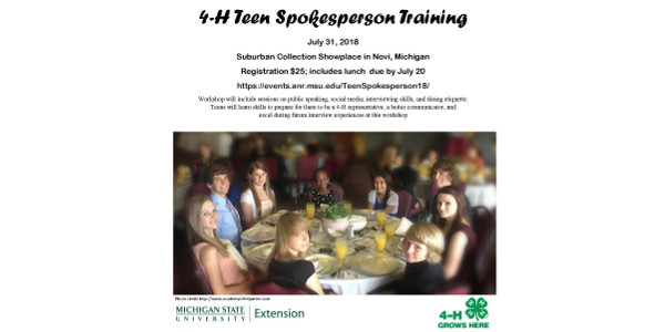 The Teen Spokesperson workshop is open to 4-H and non-4-H members who wish to increase their communication skills. (Courtesy of MSU Extension)