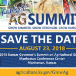 Join agriculture leaders from across the state at the third annual Kansas Governor's Summit on Agricultural Growth on Thursday, Aug. 23, 2018, at the Manhattan Conference Center at the Hilton Garden Inn.