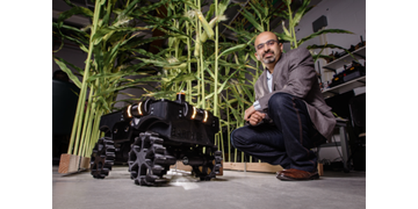 Agricultural and biological engineering professor Girish Chowdhary leads the team that developed TerraSentia. (Photo by L. Brian Stauffer)