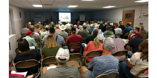 The meeting at the livestock marketing center had over 150 in attendance. The workshop in Mt. Vernon attracted 102 cattle producers. (Courtesy of University of Missouri Extension)