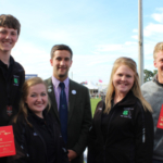 From left, team members Grant Groves and Lora Wright; David Lawrie, national chairman of the Scottish Association of Young Farmers Clubs; and team members Ellie Wantland and Daryin Sharp. (Photo credit: MU Extension 4-H)