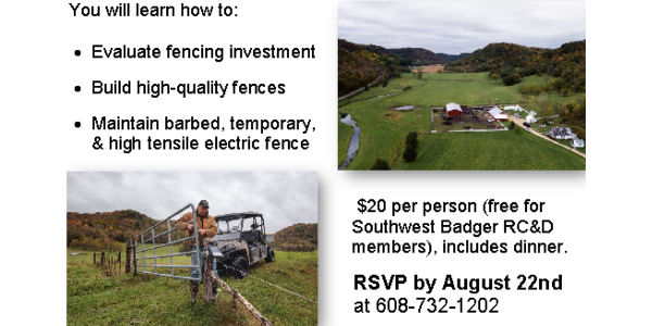 "You are invited to the ""Fencing Solutions for Graziers: The Good, the Bad, and the Ugly"" workshop with dinner in Coon Valley, WI from 1 pm to 5 pm on Saturday, August 25, 2018. (Screenshot from flyer)"
