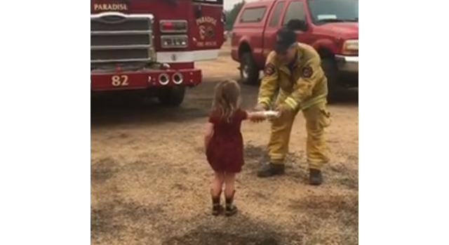 2-year-old girl hands out burritos to exhausted firefighters battling wildfire