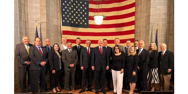Governor Ricketts with representatives of the Nebraska Governor's Council for International Relations at today's news conference. (Courtesy of Office of Governor Pete Ricketts)