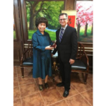 Nebraska Department of Agriculture Director Steve Wellman with Thai Huong, Founder and Chairwoman of THGroup during the trade mission to Vietnam. (Courtesy of Office of Governor Pete Ricketts)