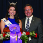 Miss Kentucky 2018 Katie Bouchard and Agriculture Commissioner Ryan Quarles show off the grand champion country ham at the Kentucky Farm Bureau Country Ham Breakfast on Aug. 23 in Louisville. (Kentucky Department of Agriculture photo)