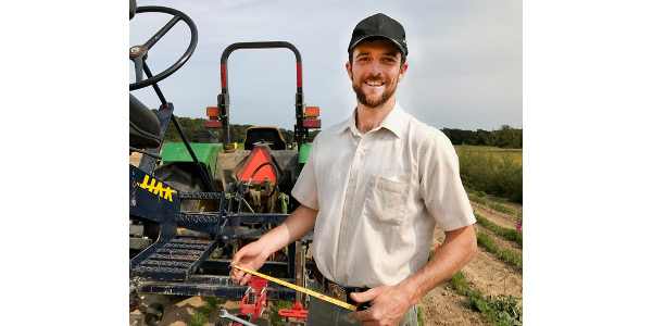 MSU graduate student and researcher, Sam Hitchcock Tilton, says often the greatest expense in vegetable production is weed control, especially within the crop row. He says these in-row tools can substantially reduce hand-weeding costs for vegetable growers. (Courtesy of NCR-SARE Communications Specialist)