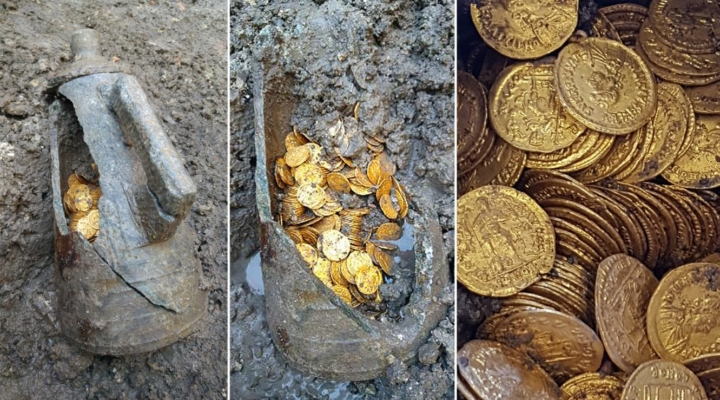 Hundreds of Roman gold coins found in basement of old theater