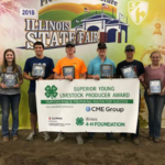 More than $500,000 has been awarded to 4-H members through the annual 4-H Superior Young Producer Award scholarship program. Pictured (left to right) are winners named Aug. 8 at the Illinois State Fair in Springfield in the beef, swine, and sheep division: Tara Hummel, Erin Curley, Fredrick Grohmann, Andy Bates, Lane Schilling, Cody Knodle, Mary Perry, and Kate Henkel. Lizzie Schafer was not available for the photo. (Courtesy of University of Illinois Extension)