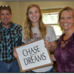 Kendra Marxsen, a sophomore studying veterinary technology, is joined by her parents, Byron and Danelle Marxsen of Schuyler, during freshman campus arrival in 2017. Kendra is chasing her dreams in 2018 as a student leader and competitor with her border collie, Tank, on the NCTA Stock Dog Team. (Mary Crawford / NCTA News)
