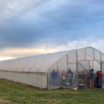 The heated high tunnel during the Spring Twilight Tunnel Walk. (Courtesy of Webb City Farmers Market)