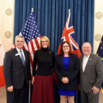 This photo is of (from left to right) Indiana State Department of Agriculture Director Bruce Kettler, Lt. Governor Suzanne Crouch, Manitoba Deputy Premier and Minister of Families Heather Stefanson, and Manitoba Minister of Agriculture Ralph Eichler. (Courtesy of Indiana State Department of Agriculture)
