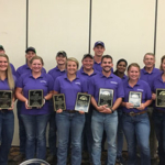 The K-State weed science teams were successful in the 2018 Weed Science regional contest. Team members include (front, left to right) Keren Duerksen, Sarah Zerger, Kaylin Fink, Larry Joe Rains, Tyler Meyeres, Lindsey Gastler, Anita Dille (coach); and (back) Hayden Heigel, Trent Frye, Peter Bergkamp, Dakota Came, Oakley Kauffman, Luke Chism, Chandrima Shyam, Kevin Donnelly (coach), Dallas Peterson (coach). (Courtesy of K-State Research and Extension)