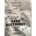 Those who worked on the first brew signed this bag of malt from Root Shoot Malting in Loveland. (Courtesy of CSU)