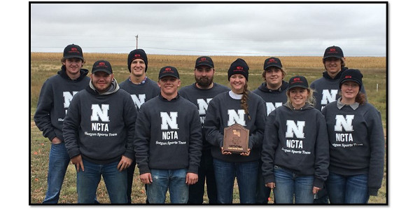 NCTA Aggie Shooters comprising the First Place Team in junior colleges at the Prairie Circuit Classic are, left to right, Tucker Bartlett, Gothenburg; David Jelken, Juanita; Johnathan Lauer, Gothenburg; Jarrod Tuttle, Eltopia, Washington; Shawn Barger, Wahoo; Angela Crouse, Haigler; Trevor Kuhn, Omaha; Kaylee Rasmussen, Burwell; Korbin Moore, Gothenburg; and Kaylee Hostler, Central City. (Taylor/NCTA photo)