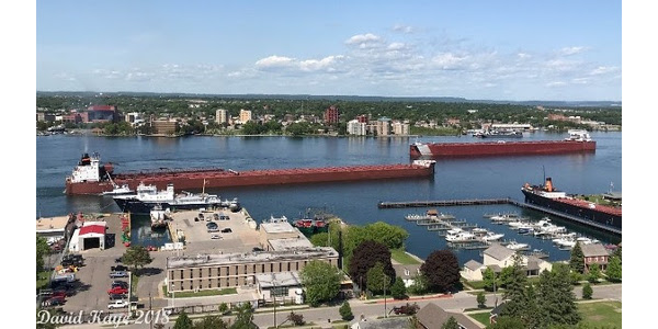 David Kaye of Sault Ste. Marie MI captured this image of Great Lakes ships converging at the Soo Locks, waiting for their turn to pass through the Poe lock, which accounts for approximately 70 percent of all shipments, and is the only lock large enough to accommodate 1,000-foot freighters. (Courtesy of Michigan Farm Bureau)