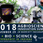 "AgriNovus Indiana announces the agenda and speakers for the 2018 Agbioscience Innovation Summit ""Ag+Bio+Science Convergence in Indiana"" presented by Corteva Agriscience and Elanco Animal Health on Nov. 29, 2018, in Indianapolis."