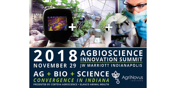 """AgriNovus Indianaannounces the agenda and speakers for the2018 Agbioscience Innovation Summit """"Ag+Bio+Science Convergence in Indiana""""presented by Corteva Agriscience and Elanco Animal Health onNov. 29, 2018, in Indianapolis."""