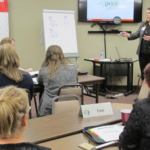 Jessica Groskopf, associate extension educator with Nebraska Extension, leads a discussion on methods to market grain during a 2018 Annie's Project session. The next course begins Jan. 28 in Beatrice. (Courtesy of University of Nebraska-Lincoln)