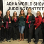 Six students from UW-River Falls competed in the AQHA World Championship Collegiate Horse Judging Competition in Oklahoma City Nov. 10. From L-R are: Meghan Donahue, Olivia Fischer, Lexi Parker, Assistant Coach Emma Clements, Zoe Donahey, Allie Keilen and Jennifer Fox. (Courtesy of UW-River Falls)