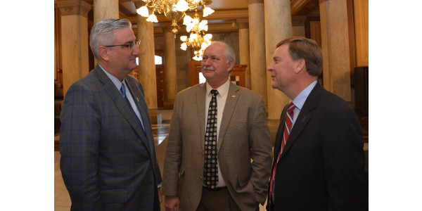 Governor Holcomb, INFB President Randy Kron and INFB Vice President Kendell Culp. (Courtesy of INFB)