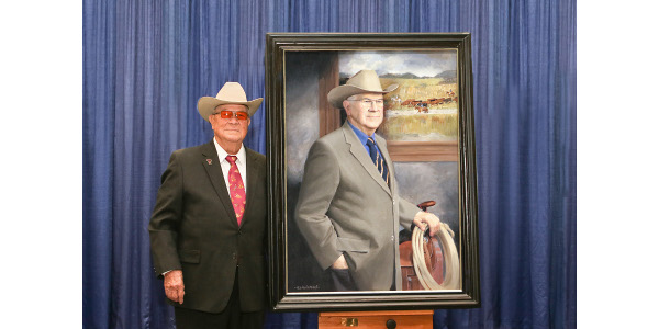"""The Saddle and Sirloin Club Portrait Collection is an agricultural hall of fame that resides at the Kentucky Exposition Center. Each year a new member is inducted and their portrait unveiled. This year R.A. """"Rob"""" Brown, Jr. from Throckmorton, TX joined an esteemed collection that includes many former presidents and agricultural policy makers. (Courtesy of Kentucky Venues)"""