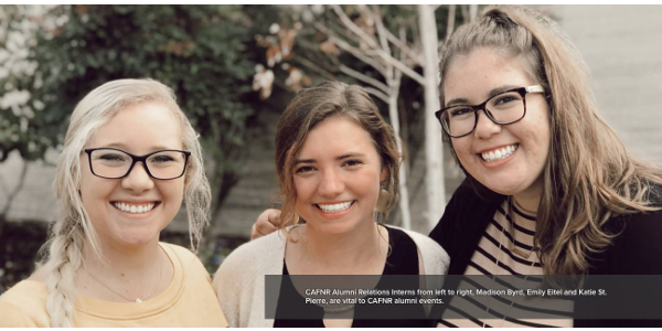 CAFNR Alumni Relations Interns from left to right, Madison Byrd, Emily Eitel and Katie St. Pierre, are vital to CAFNR alumni events. (Courtesy of University of Missouri)