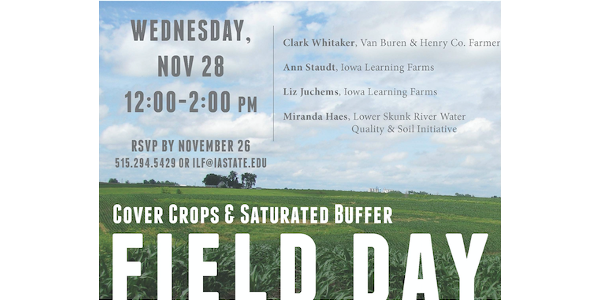 Cover crops and saturated buffer field day Nov. 28