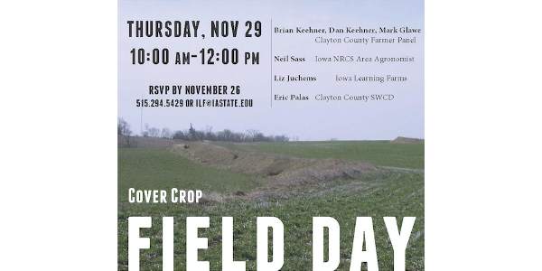 Cover crop field day to be held in Luana Nov. 29