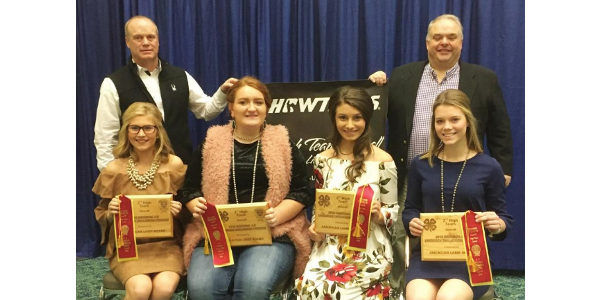 Illinois claimed the reserve national championship at the 2018 National 4-H Livestock Skillathon Contest held Nov. 14 in Louisville, Ky. Pictured (seated, left to right) are Makenna Green, Breanna Knittel, Paige VanDyke, and Tara Hummel; and (back) Coach Dale Hummel and Coach Eric Fugate. (Courtesy of Illinois Extension)
