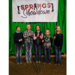 Top five beginner showmanship winners (left to right): Champion, Kinsly Altena, George, Iowa; reserve champion, Makynna Heim, Wessington Springs; third place, Sawyer James, Bruce; fourth place, Kianna Hazel, Beresford and fifth place, Jayna Blume, Pierre. (Courtesy of iGrow.org)
