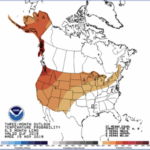 Three-month weather outlook probability for December, January and February. (Photo courtesy of National Weather Service Climate Prediction Center)