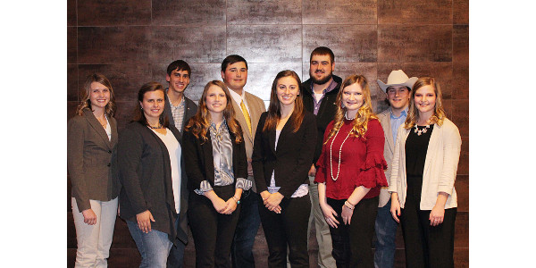 Twenty-two scholarship winners for the 2018-19 school year were recognized during the KLA Convention November 28. A total of $23,500 was presented by the Kansas Livestock Foundation and its partners. Those pictured are (back row, L to R) Seth Yenni, Lindsborg; Chad Hibdon, Princeton; Braden Draper, Ford; Braxton Butler, Virgil; (front row, L to R) Jessie Schulteis, Lincoln; Brooke Falk, Harveyville; Elizabeth Donaldson, Berryton; Amy Collins, Burlington; Karrie Van Winkle, Corning; and Michaela Musselman, Clifton. (Courtesy of KLA)