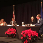 Young Farmer Discussion Meet finalists (left to right) Amanda Mosiman, Mason Gordon, Marissa Mikel and Kent Burton. (Indiana Farm Bureau via Facebook)