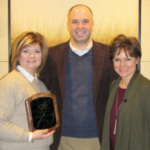 Left to right: Beth Laughbaum, award winner; Will Fett, Iowa Agriculture Literacy Foundation executive director; and Joyce Hoppes of the Iowa Pork Producers Association serving as the IALF board chair. (Courtesy of Iowa Agriculture Literacy Foundation)
