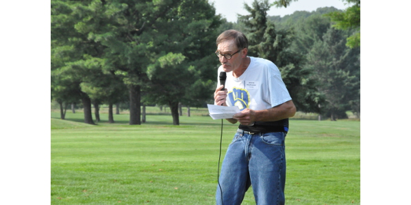 Jerome speaking as the honorary guest at our annual Skip Ellenbecker Memorial Golf Outing in Marathon, which directly benefits the FARM Program. (Courtesy of Easter Seals Wisconsin)