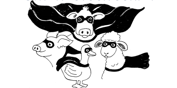 Superheroes of the Barnyard:It's More than 'Meats' the Eye. (Screenshot from flyer)
