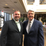Bill Gordon (left) talked soybean exports with USDA Under Secretary of Agriculture for Trade Ted McKinney (right) during ASA's board meeting in St. Louis. (Courtesy of Minnesota Soybean Growers Association)