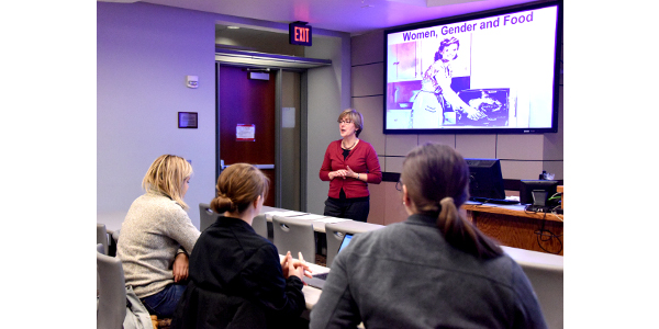 Carmen Bain, a sociology professor, taught the first class at Iowa State to examine women's identities, roles and gender relations in the agriculture and food system in the United States. The class just wrapped up its first semester and will be taught again next fall. (Courtesy of ISU)