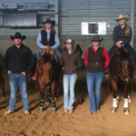 The NCTA Ranch Horse Team at the Dec. 1-2 WinterFest at Loveland included, from left to right, Lennae Eisenmenger, Damian Wellman, Brady Mattke, Carlee Stutz, Nicole Ackland, Huntra Christensen, Madisyn Cutler, Kaylee Tremel, and Coach Joanna Hergenreder. (Courtesy photo by Laurie Stutz)